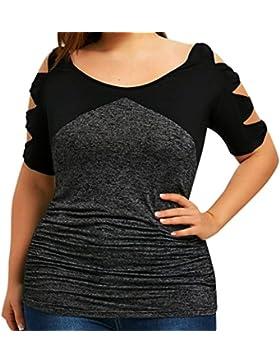 FAMILIZO Camisetas Sin Hombros Mujer Tallas Grandes ❤️XL~5XL Camisetas Mujer Verano Blusa Mujer Elegante Hueco...