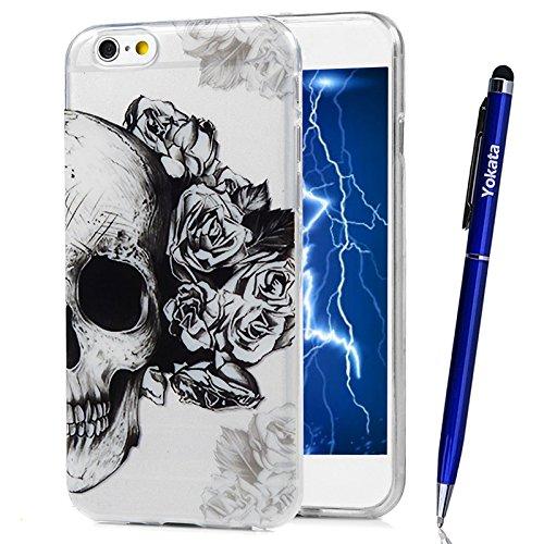 Braun Union Jack (Für iPhone 6 / iPhone 6S Cover, Yokata Transparent Comic Motiv TPU Soft Case mit Weich Silikon Bumper Crystal Clear Klar Schutzhülle Durchsichtig Dünne Case Hülle + 1 X Stylus Pen - Schädel)