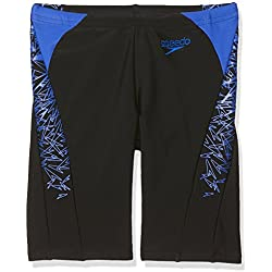 Speedo Boys' Boom Splice Jammer Swim Shorts, Black/Blue, Size 26