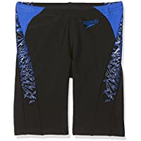 Speedo Boys' Boom Splice Jammer Swim Shorts, Black/Blue, Size 22