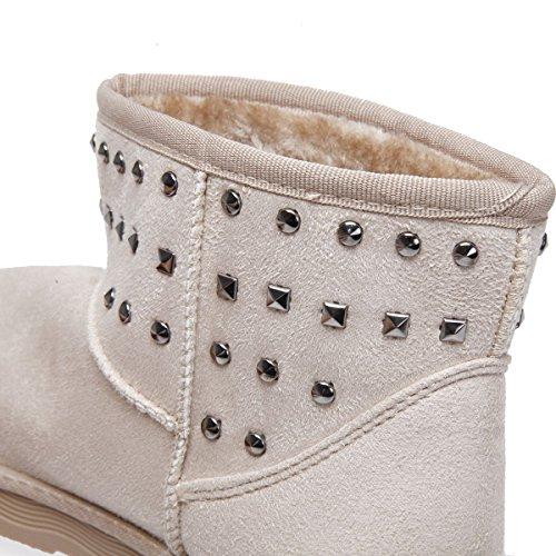 La Modeuse Boots Fourrées Noires à Clous en Suédine Femme Beige