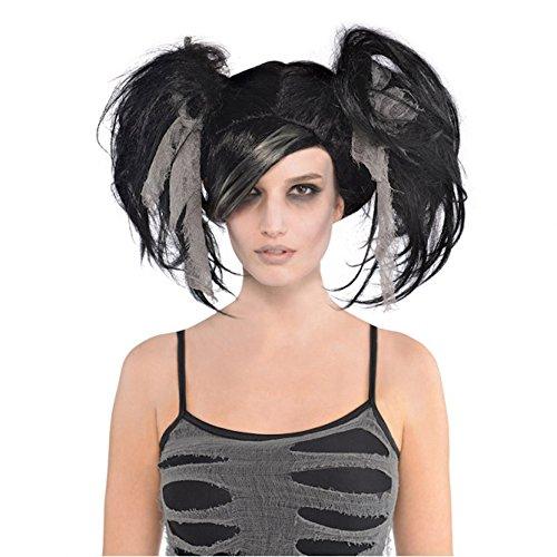 Schwarz-graue Halloween Perücke mit Zöpfen Zombie Mumie Untote Braut Geist Damen Horror
