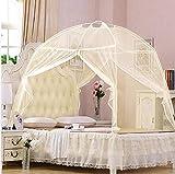Unbekannt Tragbare Bettzeltnetze Freistehende Kinderbetten Kinder Erwachsene One Touch Travel Yurt Dome Net Faltbar für Zuhause, im Freien,Beige,180 * 195 * 135cm