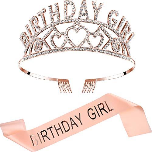 Zu König Kostüm Kinder Machen - Chengu Geburtstag Mädchen Glitter Krone Strass Kristall Dekor Stirnband mit Geburtstag Mädchen Schärpe (Rosagold Satz)