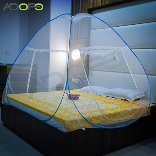 ADOFO POlyester Foldable Mosquito Net Flexible for Double and Queen Size Beds - for Baby and Adult Protection (Blue, ADOFO-001)