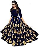 SR-Fashion Women'S Velvet Long Gown Skirt And Top (Bluebarry_Free Size)