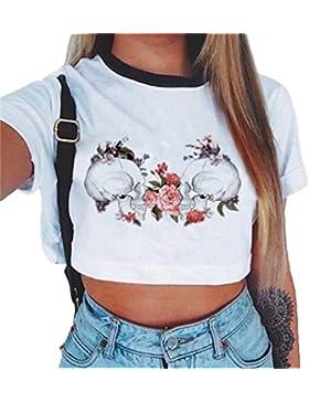 Baijiaye Mujer T-Shirt Corto Crop Top Chica Joven Casual Patrón Impreso Corto Blusas Suelto T-Shirt Moda Media...