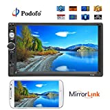 """Podofo Car Stereo Bluetooth Audio Double Din Car Radio GPS 7"""" LCD Touch"""