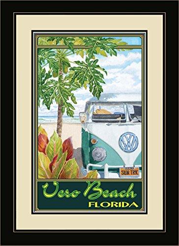 Northwest Art Mall ed-5865fgdm STH Vero Beach Florida Truck Hula gerahmtes Wandbild Kunst von Künstlerin Evelyn Jenkins Drew, 40,6x 55,9cm