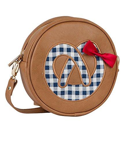 SIX Oktoberfest Kleine Runde Tasche, Damenhandtasche in braun mit karrierter Brezel und roter Schleife Wiesn Brezn, Riemen abnehmbar (463-373)