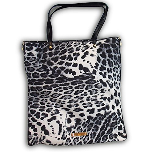 Borsa Shopping Verticale CAVALLI CLASS C40.006 Flat Bag B01 Black/White 34x37