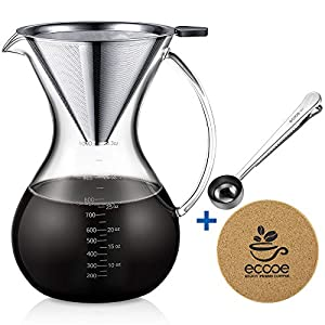 Ecooe 1000ml / 33.3oz Pour Over Coffee Maker Set for Sharing with Stainless Steel Removable Filter Stailess Steel Spoon Cork Mat and Cleaning Brush