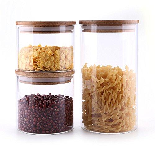 T4U 1200ml/600ml/500ml Glasbehälter Φ8cm Vorratdosen Vorratsglas aus Borosilikatglas mit Bambus-Deckel, geeignet für Lebensmittel, 3er Set