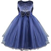 iEFiEL Vestido Elegante de Princesa Niña Traje de Ceremonia Vestido Largo Fiesta con Lentejuelas Brillantes Niña