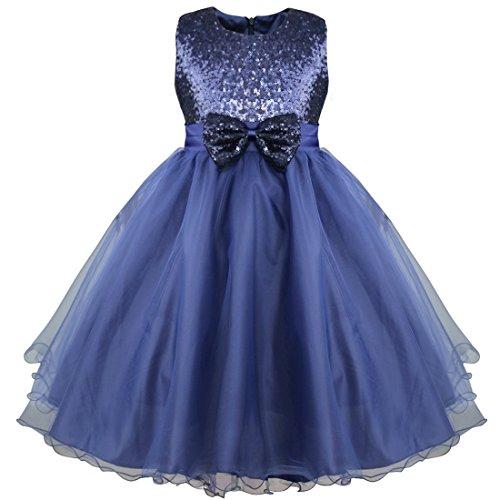 IEFIEL Vestido Fiesta Boda Dama de Honor Cumpleaños Niña Vestido Princesa Traje de Ceremonia Elegante Vestido Largo con Lentejuelas Tutú 2-14 Años Azul Oscuro 11-12 años