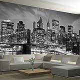 Wandbild leinwand Tapeten New York City Nachtlandschaft 3d Fototapete Landschaft Schwarz & Weiß Wohnzimmer 3d Wandbilder TV Hintergrund Wandaufkleber-250 X 200CM