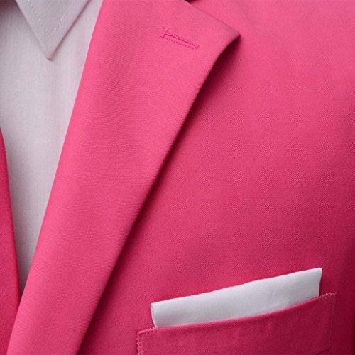 vidaXL 2-tlg. Herrenanzug Business Anzug Hochzeit Smoking Krawatte Slim-Fit Gr. 46-56 Rosa 52