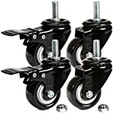 H&S® 4 x Heavy Duty 50mm Rubber Swivel Castor Wheels Trolley Furniture Caster - Screw