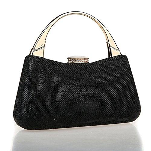 KAXIDY Damen Handtasche Clutch Damentasche Tasche Abend Handtasche Abendtasche (Blau) Schwarz