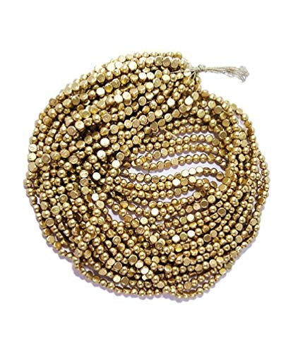 SEWN Aari Work Half Beads Antic Gold Used for Dress, Jewelry, Art and Craft (15 Pieces, Chain, Length 38 cm Each, Beads Size-5 mm/1200 Beads)