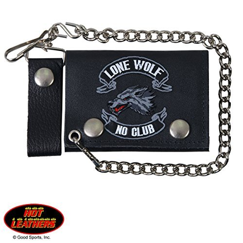 Hot Leathers, LONE WOLF, NO CLUB, Detachable Chain & Leather Belt Loop Snap, Bikers Tri-Fold Leather WALLET by Officially Licensed Original Hot Leathers Inc. USA -