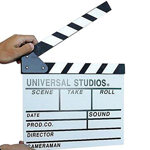 junejour Holz Film Director Board Action Sign Prop Filmklappe Film slateboard, holz, weiß, (Sie Ein Kostüm Kreide Machen)
