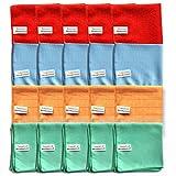 Microfaser Tücher clean2magic Allzweck (20-teilig) | Mikrofasertücher, jeweils für 5 x Böden (blau), 5 x Glas/Spiegel (grün), 5 x Multizweck (rot), 5 x Küche/Bad (orange) | 30 x 30 cm