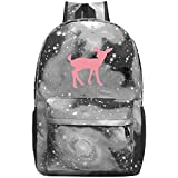 dsgsd Schultasche Pink Silhouette Deer Casual Large-Capacity Star Backpack Unisex Travel Bag Blue