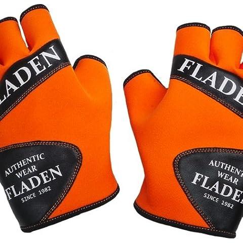 Fladen––Par de naranja y negro con dedos y sin dedos guantes de neopreno suave–diseñado para pesca, color naranja, tamaño