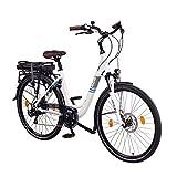 NCM Munich 28 Zoll Elektrofahrrad, Herren & Damen Pedelec, E-Bike City Rad, 36V 250W 13Ah 468Wh Lithium-Ionen-Akku & 250W Bafang Heckmotor, mit mechanischen Scheibenbremsen,weiß