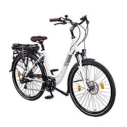 """NCM Munich 36V, 28"""" Zoll Elektrofahrrad, Herren & Damen Pedelec, E-Bike City Rad, 250W Bafang Heckmotor, 13Ah 468Wh Lithium-Ionen-Akku, mechanische Scheibenbremsen, weiß"""