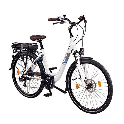 NCM Munich 28 Zoll Elektrofahrrad Herren/Damen Unisex Pedelec,E-Bike,City Rad, 36V 250W 13Ah 468Wh Lithium-Ionen-Akku, mit mechanischen Scheibenbremsen,weiß (13 Ah)