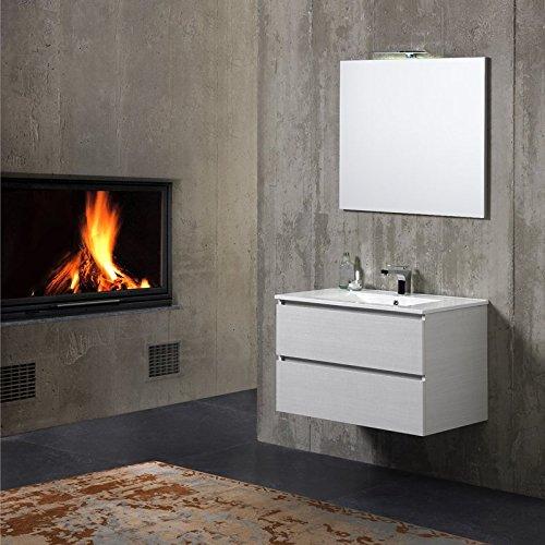 Mobile bagno sospeso 80 cm con cassetti e lavabo in ceramica berlin grigio