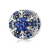 Ciondolo a forma di fiocco di neve blu in argento Sterling 925 di alta qualità con fiocco di neve e zirconia cubica blu, compatibile con braccialetti originali fai da te