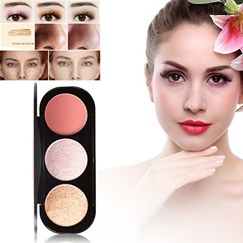 3 Colores Cara Polvos Coloretes Blush Paleta Maquillaje