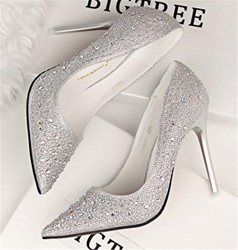 Wealsex Escarpin Strass Diamant Bout Pointu Talon Haute Aiguille Chaussure Soirée Mariage Club Mode Sexy Femme Argenté