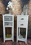 Livitat® Beistelltisch Kommode Konsole Konsolentisch 73 cm Telefontisch Landhaus Shabby Weiß Grau LV1088