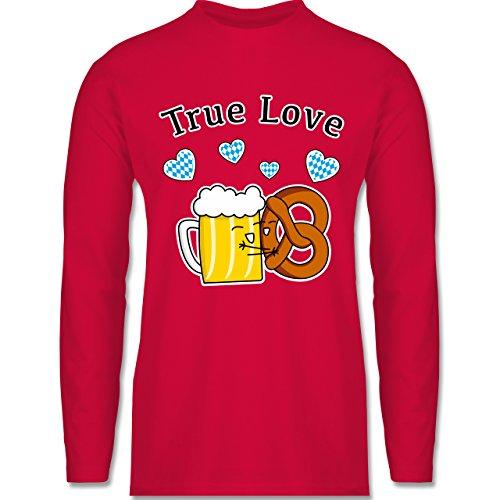 Shirtracer Oktoberfest Herren - True Love- Bier und Breze - Herren Langarmshirt Rot