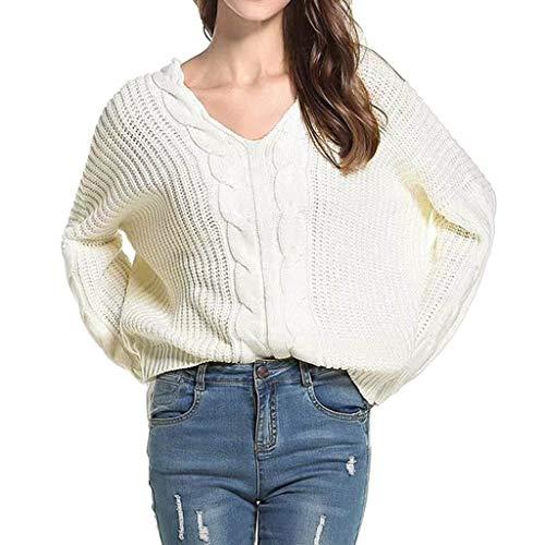 Tohole Damen Pullover Winter übergroße Pullover lose V-Neck Fledermausärmel Warm gestrickter Oversize Pullover Oberteil Langarmshirts Tops Hemd Shirt(Weiß,L)