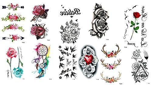 11fogli tatuaggi rose e fiori tatuaggi colorato e nero
