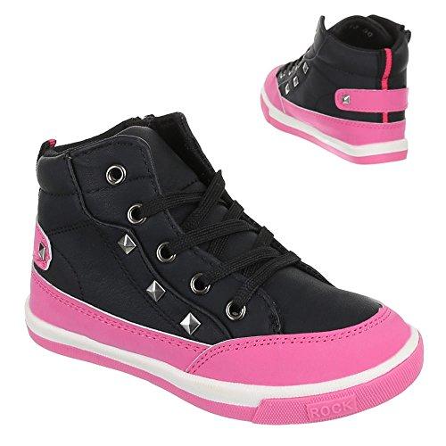 Chaussures pour enfants, F de 113, loisirs chaussures sneakers sportive - Schwarz Pink
