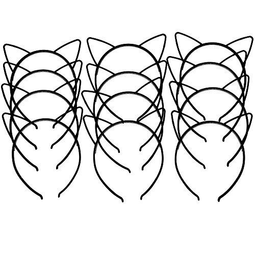 salocy schwarz Katze Ohren Haarreifen für Mädchen Weihnachten Geburtstag Party Supplies, Kunststoff, (Bunny Ohren Billig)