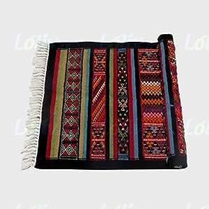 Tapis kilim en laine naturelle rouge 71 cm x 125 cm fait main