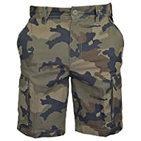 MENS ARMY CASUAL WORK CARGO COMBAT CAMOUFLAGE SHORTS COTTON CHINO HALF PANT CAMO (32, Brown Camo)