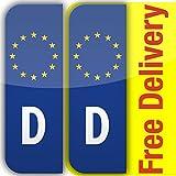 Die besten Marken Haartrockner - Nummernschild-Sticker, selbsthaftend, Vinyl, Motiv Euro D Deutschland, 2 Bewertungen