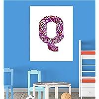 Alphabet Q Nursery Children Educational Early Learning Poster Print Wall Art V2 preiswert