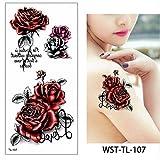 1 hoja rosa flor tatuaje pegatina tatuajes niñas flor tatuajes brazo manga cuerpo arte pegatinas bikini impermeable tatuaje en tatuajes de Gr TL107