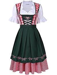 KOJOOIN Damen Dirndl Set Karierte Dirndlbluse Stehkeragen Trachtenkleid Vintage Oktoberfest Bavarian Couture 3 Teilig