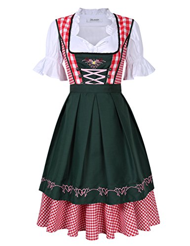 KOJOOIN Damen Dirndl Set/Midi Trachtenkleid für Oktoberfest - Dreiteilig/Upgrade-Abschnitt: Kleid, Schürze,halbarm Bluse/Rot S