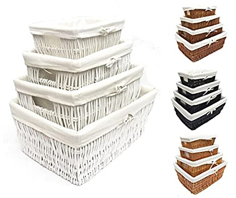 Full Wicker Strong Wider Big Deep Large Wicker Lined Handle Storage Basket Xmas Hamper Basket Gift[White,Set of 4 Small]